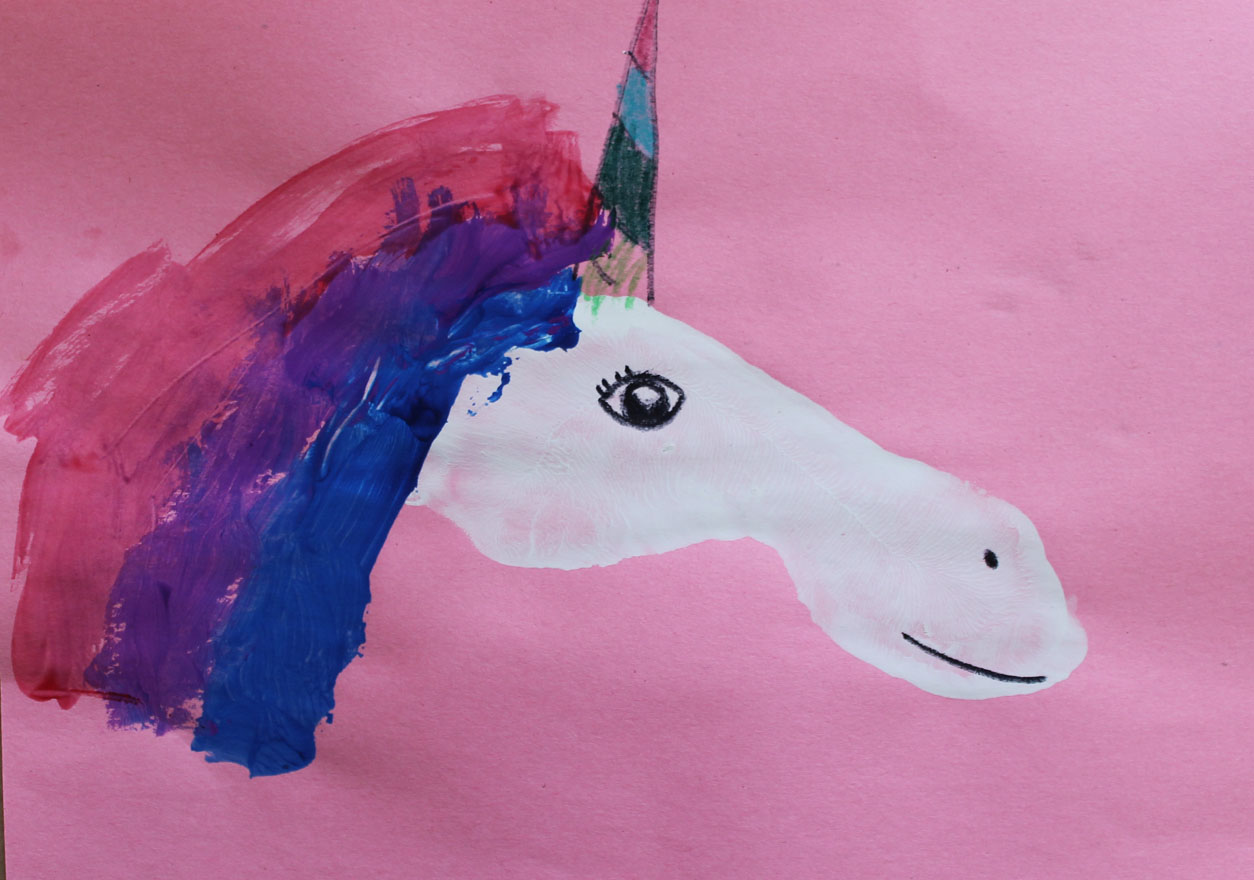 Footprint unicorn live learn love eat for Unicorn crafts for kids