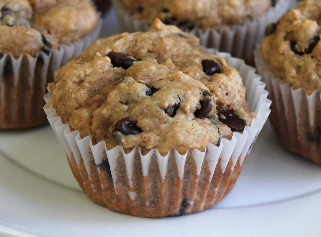Peanut Butter Banana Chocolate Chip Muffins | Live. Learn. Love. Eat.