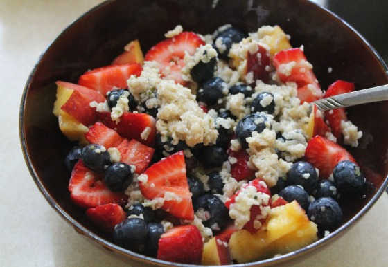 oatmeal peaches and berries