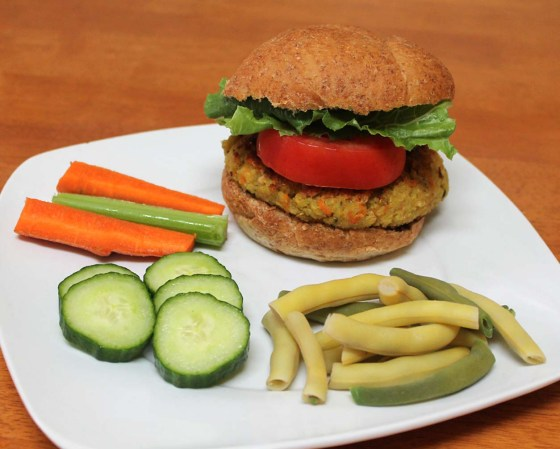 veggie loaded quinoa red lentil burger