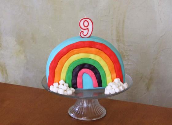 rainbow marshmallow fondant cake vegan