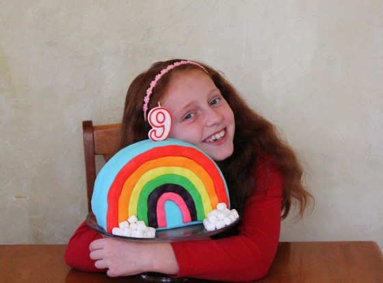 girls rainbow fondant birthday cake