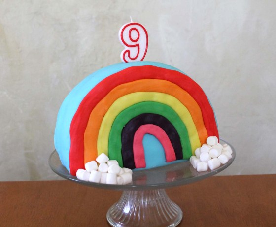 vegan rainbow marshmallow fondant cake